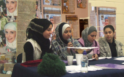 Girls addressing the IWCNZ 2008 Conference